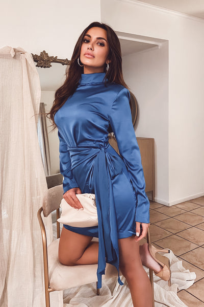 Janelle Blue Satin Dress