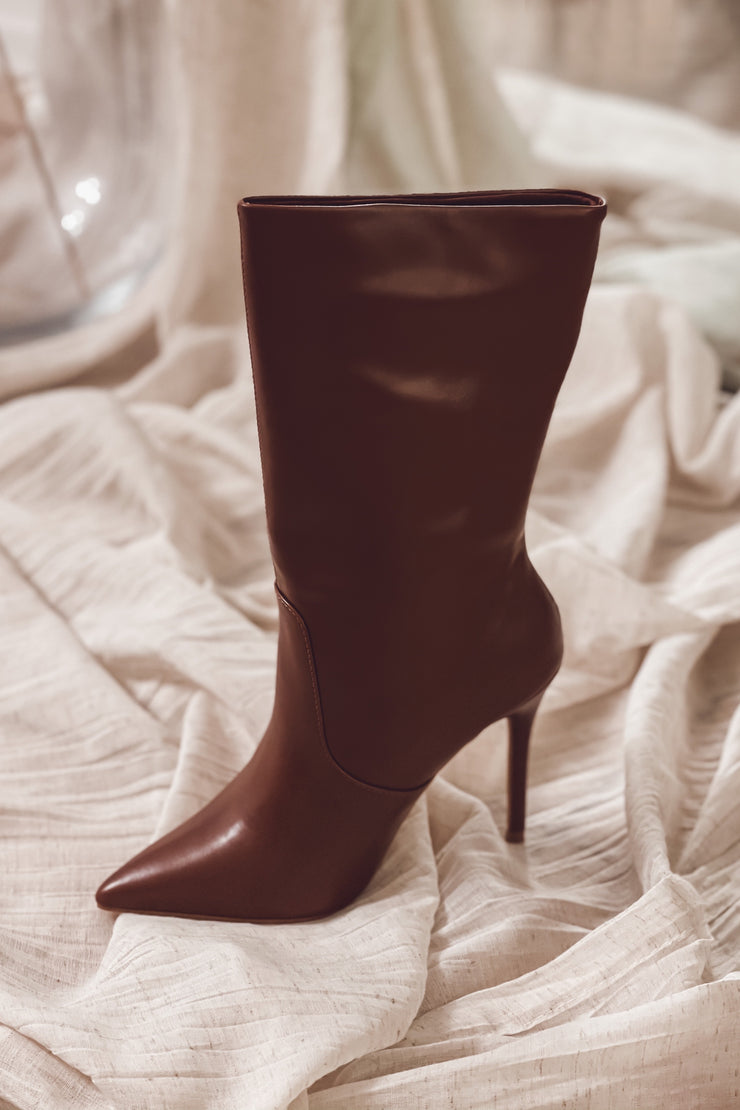 Deanne Leather Booties - Chocolate