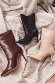 Deanne Leather Booties - Black