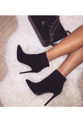 Betty Velour Booties - Black