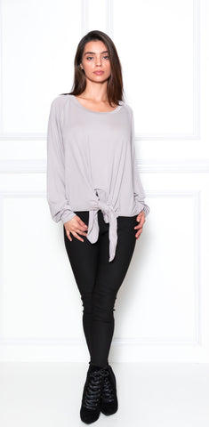 Jocelyn Knot Sweater Top-Grey