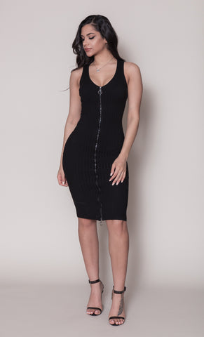 Rebecca Zipper Dress-Black