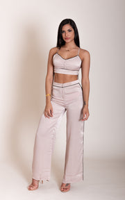 Satin Crop Top & Trouser Set