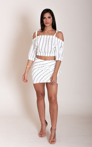 Lace Ruffle Striped Set