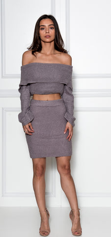 Lia Dusty Purple Knit Skirt