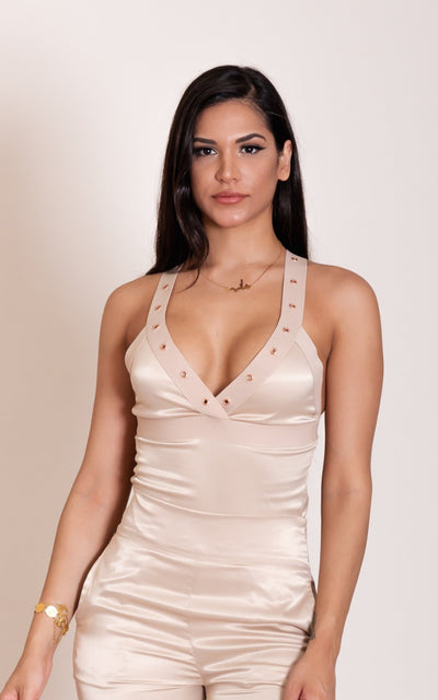 """JANICE"" Light Gold Satin Bodysuit"
