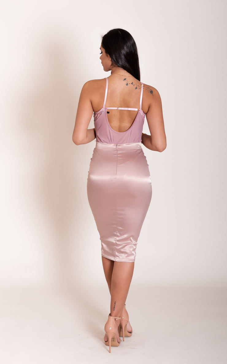 """JANICE"" Mauve Satin Zipper Skirt"