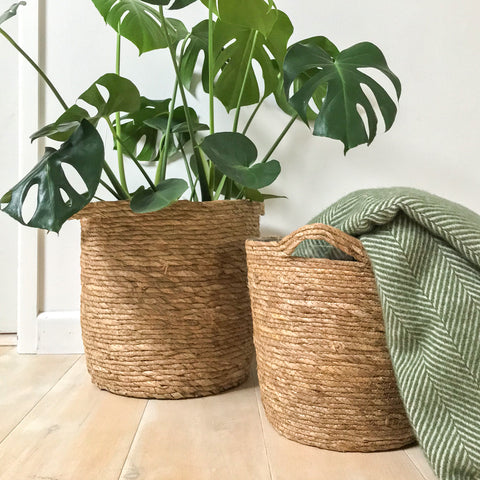 Rustic Natural Woven Planter Small