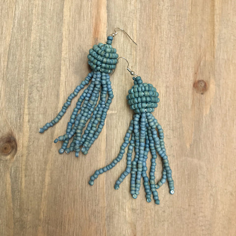 Coco Tassel Earrings - Denim
