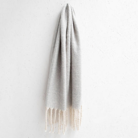 Soft Chunky Tassel Scarf - Light Grey