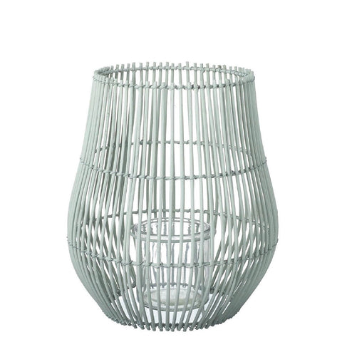 Rattan Lantern - Pale Green - Large