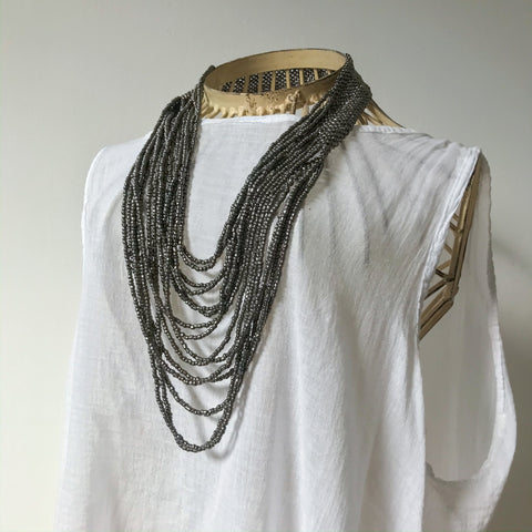 Beaded Cascade Necklace - Silver