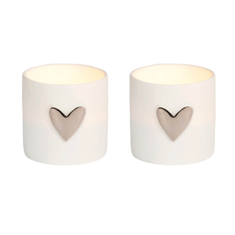 Set of Two Porcelain Tealight Holders