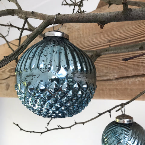 Winter Blue Glass Bauble Large