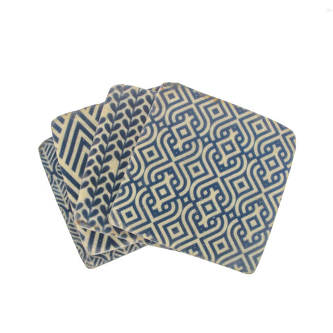 Pack of Four Blue Geometric Coasters