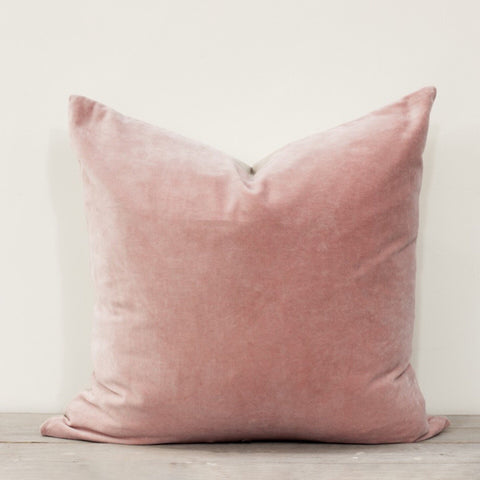 Large Velvet Square Cushion in Blush Pink