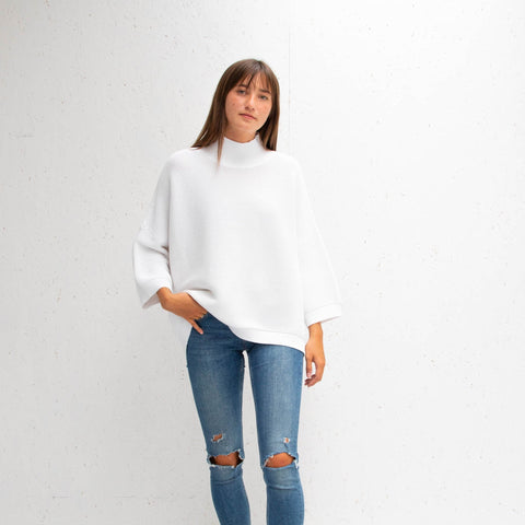 Ribbed Slouchy Cotton Jumper - White