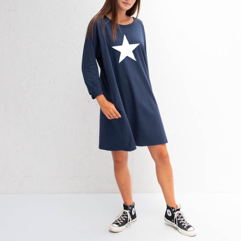 Jersey Dress in Navy With White Star