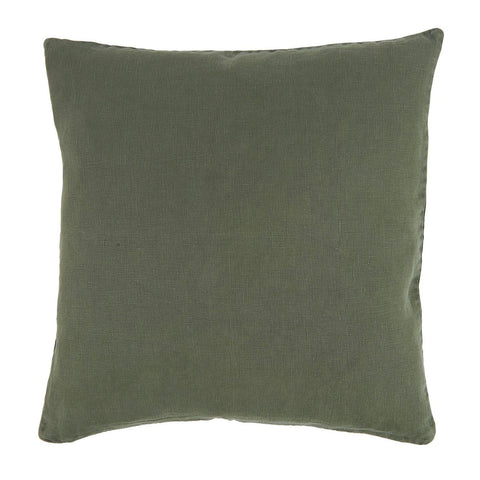 Linen Square Cushion in Dark Green