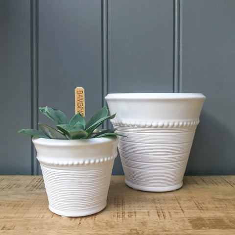 Livia White Ceramic Pot