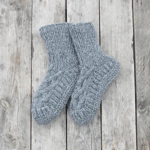Handknitted Cable Slipper Socks in Grey