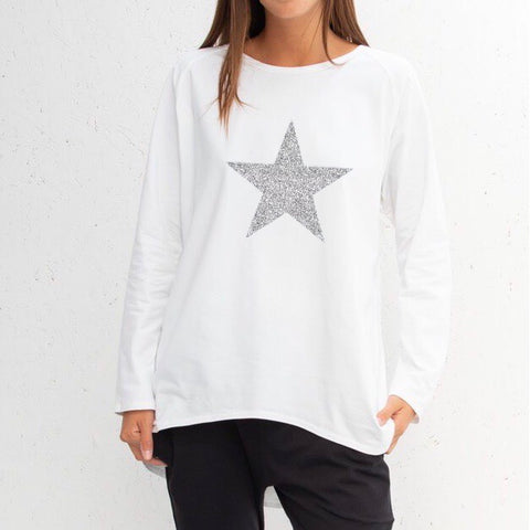 Star Top in White With Silver Star