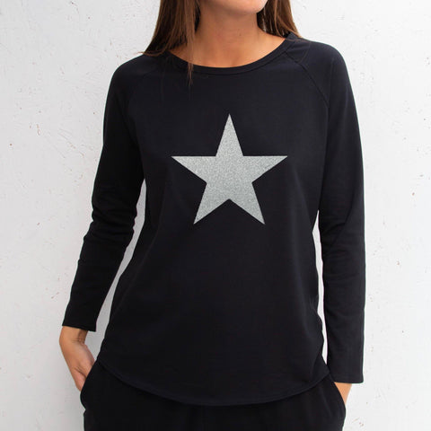 Long Sleeve Black T-Shirt With Silver Sparkle Star