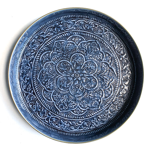 Large Ink Embossed Round Tray