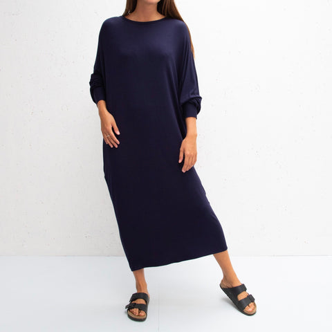 Drape Jersey Dress in Navy