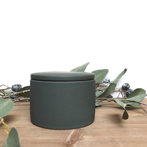 Porcelain Storage Pot in Green-Grey