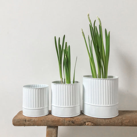 White Metal Ribbed Planter Small