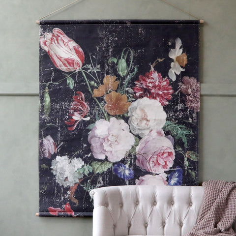 French Floral Canvas Wallhanging - Large