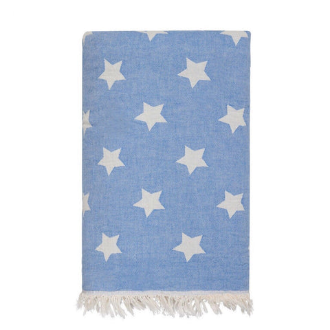 Star Throw with Fleece Lining in Sky Blue