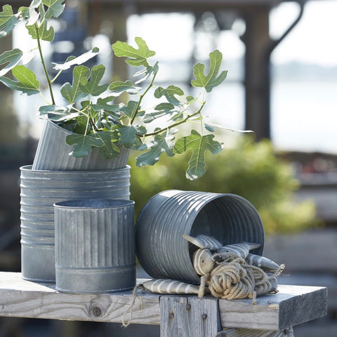 Vertical Ribbed Zinc Planter Small