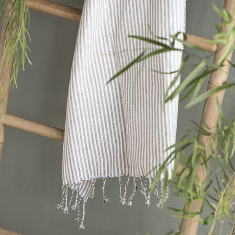 Grey and White Striped Cotton Hand Towel