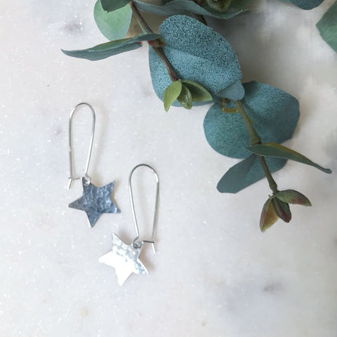Silver Drop Star Earrings