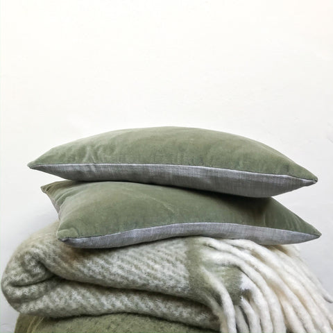 Velvet Rectangle Cushion in Light Olive