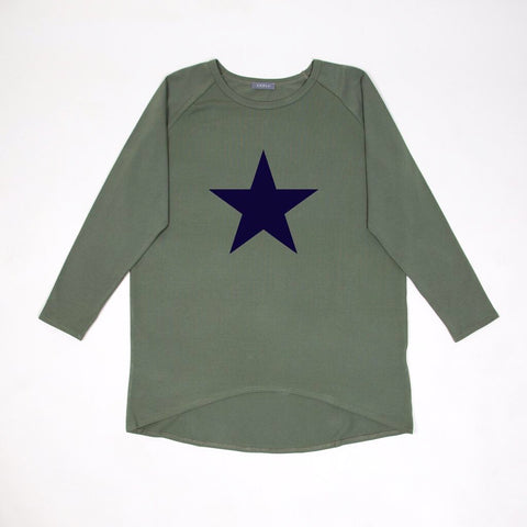 Star Top in Khaki with Navy Star