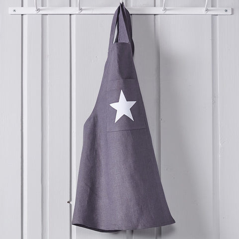 Child's Star Charcoal Linen Smock Apron