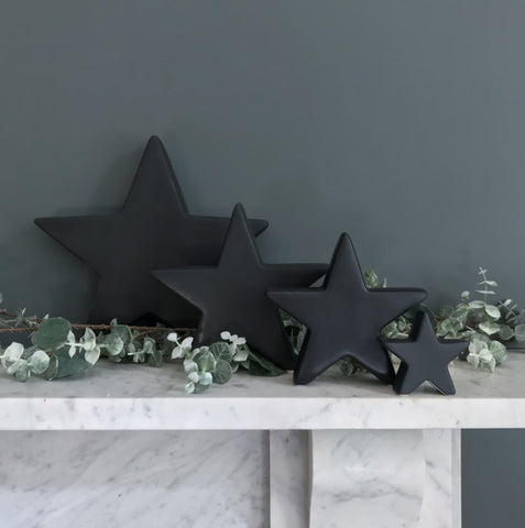 Black Ceramic Standing Star X Small