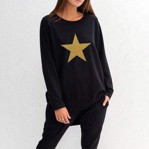 Star Top in Black With Gold Star