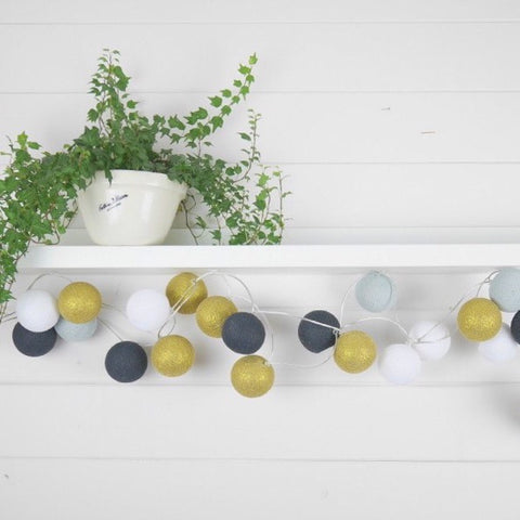 LED Cotton Ball Lights - Gold Dust