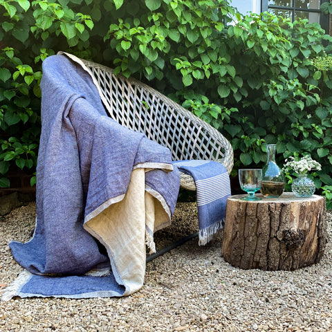 Cotton Throw in Navy Blue and Natural