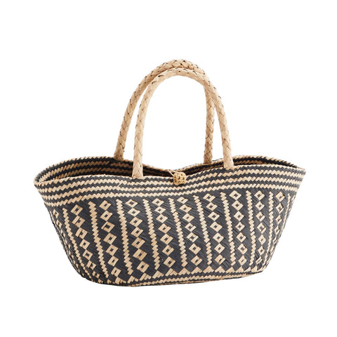 Natural and Black Seagrass Basket Bag