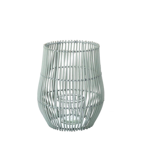 Rattan Lantern - Pale Green - Small