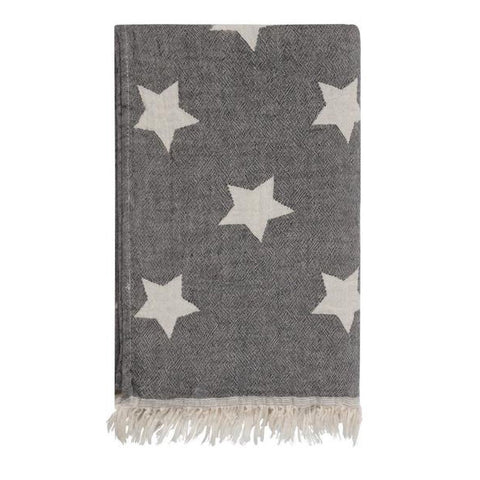 Cotton Star Throw in Carbon