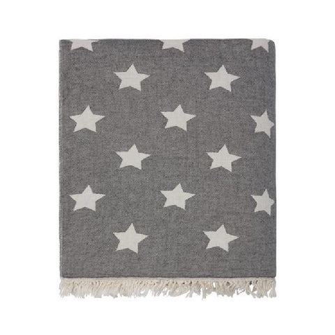 Star Throw with Fleece Lining in Carbon