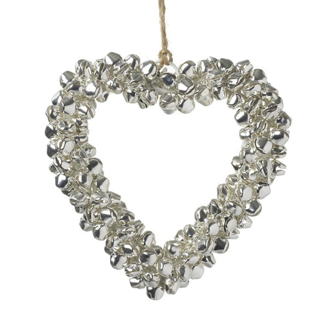 Silver Bells Heart Hanging Decoration
