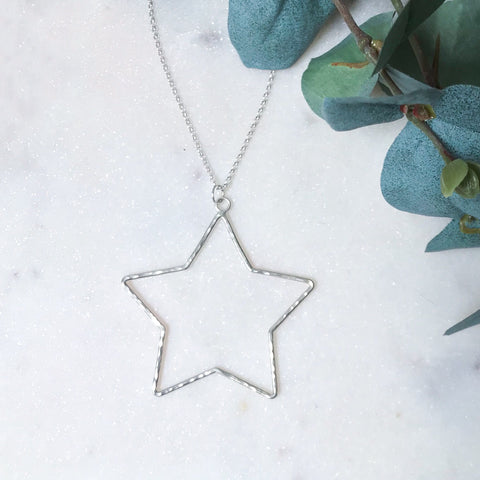 Silver Large Star Pendant on Chain