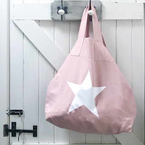 Pink Linen & White Star Shopper